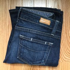 """Paige """"Laurel Canyon"""" Boot cut Jeans These Paige Petite Jeans are boot cut and dark wash. 98% cotton 2 % spandex. Waist measures 15"""" laying flat. Inseam 28"""". Rise 7"""" RN 27002. EUC Beautiful! Paige Jeans Jeans Boot Cut"""