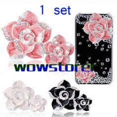 one set camellia flower DIY deco for  cell phone case by wowstorer, $7.99