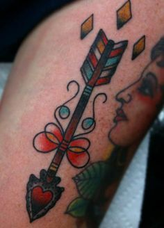 Traditional Heart Arrow Tattoo