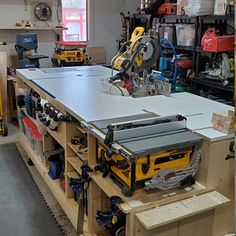 Custom Project Work Center - Turnkey Built Workbench - Built to Order Table Saw Workbench, Workbench Plans Diy, Workbench Designs, Mobile Workbench, Woodworking Bench Plans, Woodworking Crafts, Workbench Organization, Miter Saw Table, Diy Router Table
