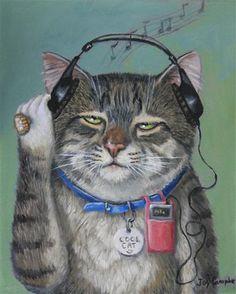 """A Cool Cat"" - Original Fine Art for Sale - © Joy Campbell"