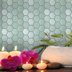 Check out this American Olean product: Photo features Felicity Vintage Mint in Hexagonal Structured Glass Mosaic on the wall.