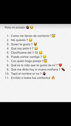 Cadena pal c hico que te gu😍sta Emoji Combinations, Funny Questions, Journal Aesthetic, Baymax, Writing Quotes, Minions Quotes, Insta Story, Social Networks, Instagram Story