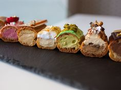 Our love affair with cupcakes, cronuts and flash-in-the pan whoopee whatevers is over. Pimped-up éclairs. Recently opened patisserie. French Patisserie, Mini Desserts, Delicious Desserts, Dessert Recipes, Pastry Recipes, Profiteroles, Eclairs, Eclair Recipe, Sweets