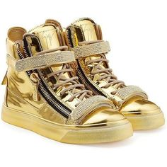 Metallic Leather High-Top Unisex Sneakers-Gold