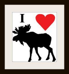 I heart moose cross stitch