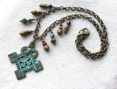 Coptic Cross Necklace Tribal Jewelry Verdigris Patina by lilruby, $50.00
