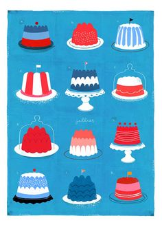 Jessie Ford | Illustrators | Central Illustration Agency - Cakes on Cake Plates art poster