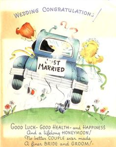 (๑˙❥˙๑)                                                                ✄Vintage Wedding Congratulations Card