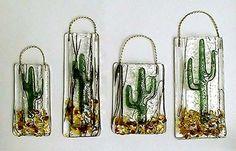 fused glass cactus vase