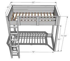 loft bed plans - From Ana White's Website; need to see if @Steve Benson Knittel thinks we could build this