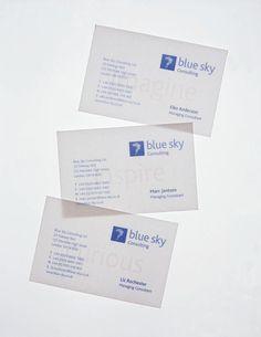 Blue Sky translucent business cards | Toby Designs
