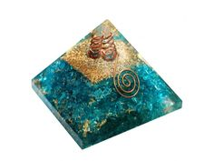 Blue Orgone Energy Pyramid With Crystal Point online from Vedic Vaani in USA