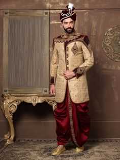 Shop Beige jamawar classic indo western online from India. Wedding Outfits For Groom, Groom Wedding Dress, Bridal Outfits, Groom Dress, Wedding Suits, Sherwani For Men Wedding, Mens Sherwani, Gents Kurta Design, Indian Costumes
