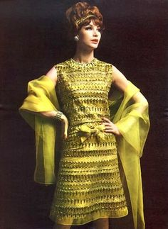 Evening dress by Christian Dior, 1961. Classic, but slightly outrageous in citrine. Perfect!