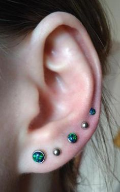 All Around Multiple Ear Piercing Jewelry at - Emerald Green Opal Triple Five Lobe Cartilage Helix Tragus Conch Jewelry Jewellery - Helix Earrings Hoop, Bar Stud Earrings, Moonstone Earrings, Flower Earrings, Types Of Ear Piercings, Multiple Ear Piercings, E Tattoo, Tragus Jewelry, Conch Jewelry