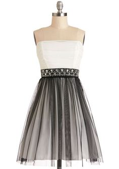 Alternative Allure Dress - Woven, Short, Black, White, Beads, Rhinestones, Special Occasion, Prom, Ballerina / Tutu, Strapless, Good