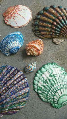 Paint Pens on Seashells ~ Renegade  #meditation  #mandala #henna #seashells…