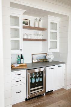 Kitchen Wet Bar, Coffee Bars In Kitchen, New Kitchen, Kitchen Decor, Kitchen Design, Coffee Bar Built In, Coffee Bar Ideas, Coffee Bar Design, Built In Bar Cabinet