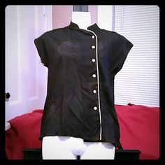An elegant black and peach Asian influenced top A nice button down Asian influenced shirt that can worn buttoned up or as an opened over top Tops Button Down Shirts