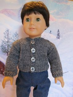 Gray Sweater for 18'' Boy Dolls,Everyday Sweater,Winterwear,Outerwear,Sporty Sweater,Play Sweater,Fun Sweater,Matches Everything by SewManyThingsbyNancy on Etsy
