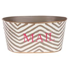 Stow unread mail and important papers in this recycled metal tub, showcasing a chevron motif and typographic detail.  Product: M...