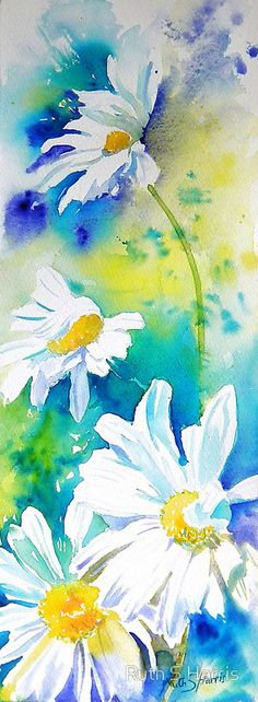 A bright, fresh watercolour of white daisies blowing in a warm breeze. / The original work measures 5.5″ × 15″ and is painted with artist quality watercolours on 140lb Artistico extra white watercolour paper. • Buy this artwork on stationery and wall prints.