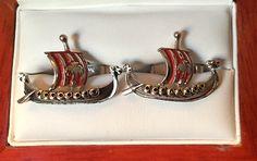 Vintage SWANK Viking Ship Cufflinks by CremedelaCuff on Etsy