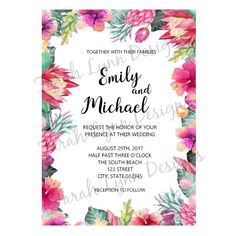 This wedding invitation set is perfect for celebrating a wedding in paradise! The wedding invite set is well suited for a destination or tropical themed wedding. ~ All designs are sold as shown and described and DO NOT INCLUDE customization of graphics, fonts or any other design element. Custom graphic elements will require an additional fee. You get: 1-5x7 Invitation 1-4x6 Rsvp This listing is a digital file (s) customized with your personalized information. No printed materials will be…