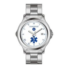 KSD Custom Gift Watch Womens Fashion Japanese Quartz Date Stainless Steel Bracelet Wrist Watch Blue White EMT Custom Monogram Watch ** Read more reviews of the product by visiting the link on the image. (Note:Amazon affiliate link)