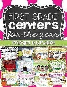 Centers are one of the most engaging parts of our day. Students love to use the themed centers to practice and reinforce important skills taught throughout the year. This MEGA bundle includes all of my FIRST GRADE math and literacy centers that are sold separately in my store. It covers skills for the entire year! Save over 20% by purchasing the bundle!