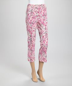 Loving this Pink Impressionist Capri Pants on #zulily! #zulilyfinds