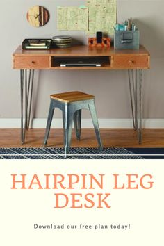 Rockler's I-Semble® 3-Rod Hairpin Legs elevate this solid, stylish and easy-to-build desk. Download our free plan and build your own! Cool Woodworking Projects, Woodworking Projects Plans, Teds Woodworking, Woodworking Classes, Woodworking Videos, Wood Projects, Hairpin Leg Desk, Desk Plans, Wood Plans