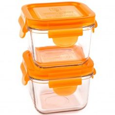 2 Contenants carré en verre ml) - Orange Baby Food Containers, Glass Containers, Little Miss Perfect, Eco Kids, Orange, Baby Food Recipes, Carrots, Snacks, Green