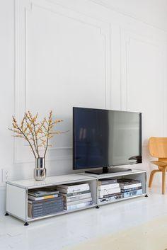 meuble multimédia usm haller - coloris blanc pur   meubles ... - Meuble Multimedia Design