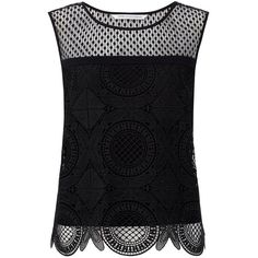 DVF Lila Spiral Lace Crop Top ($149) ❤ liked on Polyvore featuring tops, shirts, black, diane von furstenberg, summer lace tops, crop top, summer shirts and lace crop top