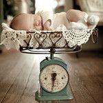 vintage scale & doilies - so cute
