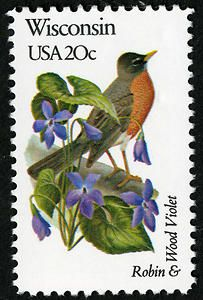 Issued in 1982, this stamp features the Wisconsin state bird and flower.