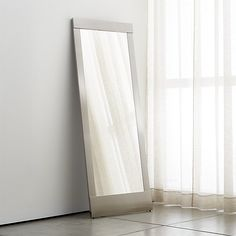 $400- Colby Nickel Floor Mirror | Crate and Barrel  SKU: 675532 (OR White instead of Nickel, or Bronze)
