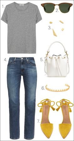 How To Wear More Color // grey tee, wood sunglasses, mis-matched earrings, white bucket bag, classic jeans & yellow tasseled suede heels #style #fashion #casualchic