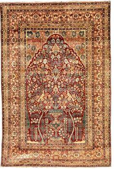 exemplary silk Tabriz, early 1900 circa, Prayer rug