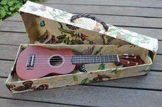Inside the decoupage ukulele case