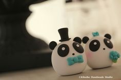 Panda MochiEgg wedding cake topper