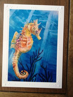 """Sea Horse Art Note Card """"Sea Freckles""""  Tropical Fish-  Embossed Art Print Greeting Card / Note Cards with Envelope  Christie Marie Art. $4.00, via Etsy."""