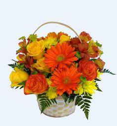 Your Florist YF3201 Yellow and Orange Flower Basket. Round Flower ...