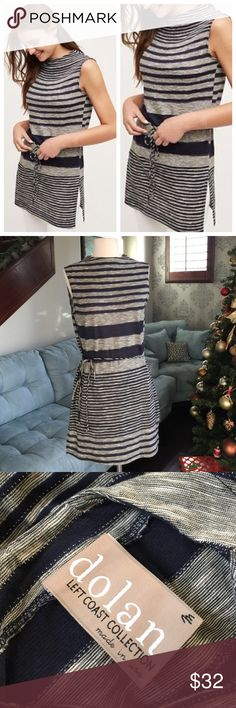 🌷🐦🌺Anthropologie beautiful tunic ♥️ Navy gray stripes soft cotton viscose blend tunic top by Anthropologie so comfy and cute on in excellent condition ♥️ Anthropologie Tops Tunics