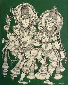 Shiva parvati Kalamkari Painting, Krishna Painting, Madhubani Painting, Indian Traditional Paintings, Indian Art Paintings, Shiva Art, Hindu Art, Phad Painting, Kerala Mural Painting
