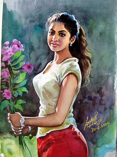 50 Most Beautiful Indian Women Paintings of All Times Indian Women Painting, Indian Art Paintings, Indian Artist, Female Cartoon, Female Art, Indian Drawing, Mystique, Digital Art Girl, Woman Painting