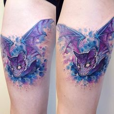 Colorful looking Halloween tattoo design. The bat is ink in wonderful blue hues making the bat look majestic and at the same time magical.