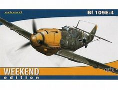 The Eduard Messerschmitt Bf 109E-4 Weekend Edition in 1/48 scale from the plastic aircraft model kits range accurately recreates the real life German fighter aircraft flown during World War II.  This Eduard aircraft model requires paint and glue to complete.